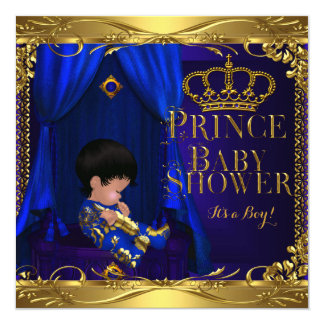 Little Prince Baby Shower Boy Regal Blue Crown 5 5.25x5.25 Square Paper Invitation Card