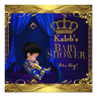 """Little Prince Baby Shower Boy Regal Blue Crown 5a 5.25"""" Square Invitation Card"""