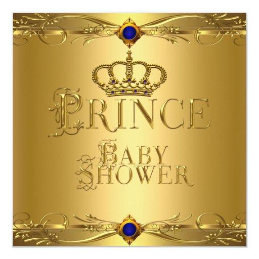 Little Prince Baby Shower Boy Regal Blue Crown 6 Card