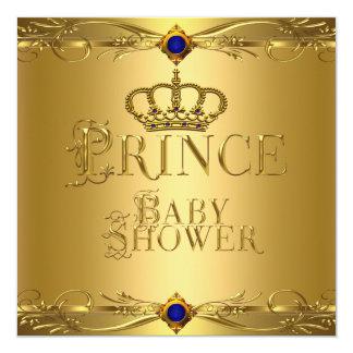 "Little Prince Baby Shower Boy Regal Blue Crown 6 5.25"" Square Invitation Card"