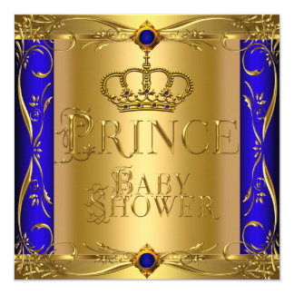 Little Prince Baby Shower Boy Regal Blue Crown 9 5.25x5.25 Square Paper Invitation Card