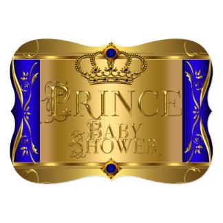 "Little Prince Baby Shower Boy Regal Blue Crown 9 5"" X 7"" Invitation Card"