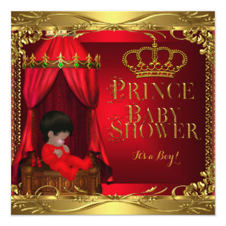 Little Prince Baby Shower Boy Regal Red Crown 5 Card