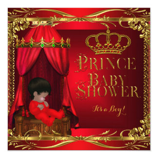 Little Prince Baby Shower Boy Regal Red Crown 6 5.25x5.25 Square Paper Invitation Card