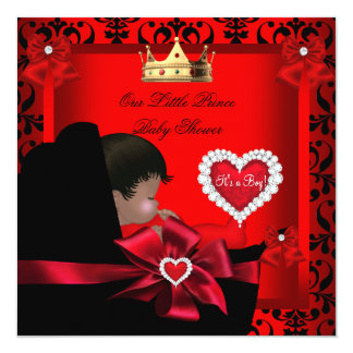 "Little Prince Baby Shower Boy Regal Red Gold Pram 5.25"" Square Invitation Card"