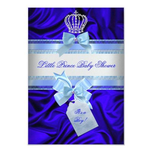Little Prince Baby Shower Boy Royal Blue 2 3.5x5 Paper Invitation Card