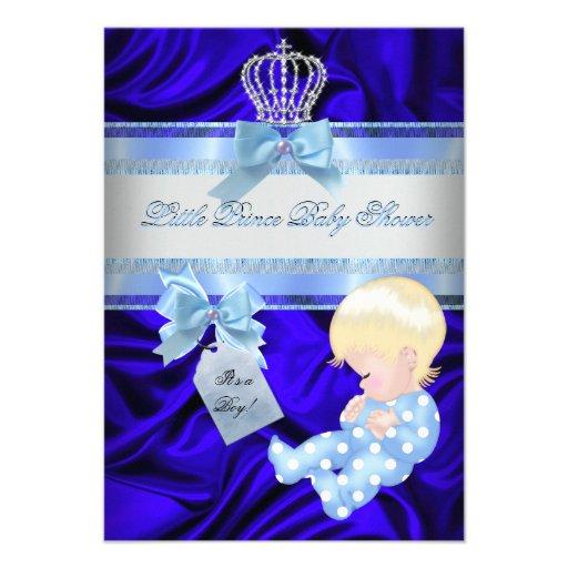 little prince baby shower boy royal blue blonde paper invitation