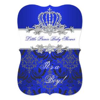 Little Prince Baby Shower Boy Royal Blue Crown 2 Card