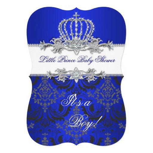 little prince baby shower boy royal blue crown 2 custom invitation