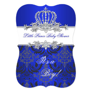 Little Prince Baby Shower Boy Royal Blue Crown 2 5x7 Paper Invitation Card