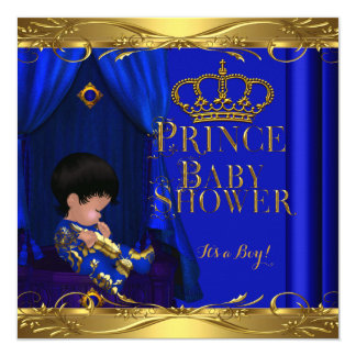 Little Prince Baby Shower Boy Royal Blue Crown 5z Personalized Announcements