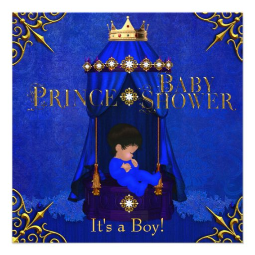 personalized baby shower little prince crown invitations, Baby shower invitations