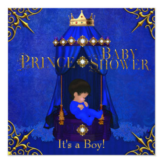 Little Prince Baby Shower Boy Royal Blue Crown 5.25x5.25 Square Paper Invitation Card
