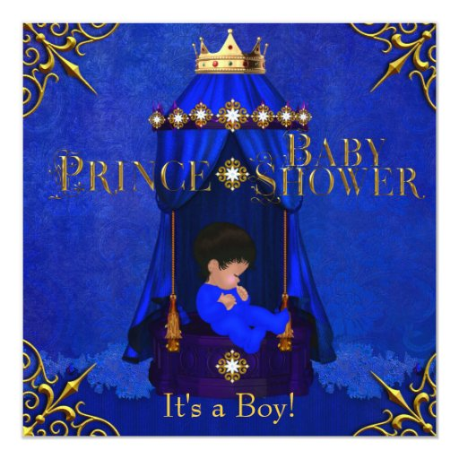Little Prince Baby Shower Boy Royal Blue Crown Invitation