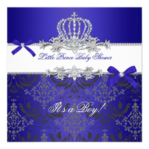 little prince baby shower boy royal blue crown square invitation