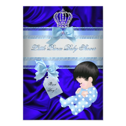 little prince baby shower boy royal blue personalized invitations