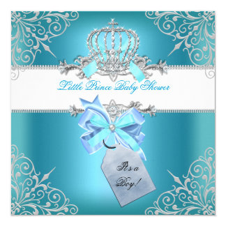 Little Prince Baby Shower Boy Teal Blue Crown 6 5.25x5.25 Square Paper Invitation Card