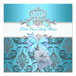 """Little Prince Baby Shower Boy Teal Blue Crown 8 5.25"""" Square Invitation Card"""