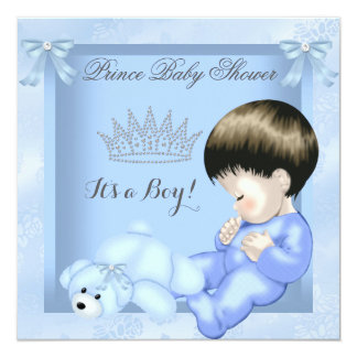 """Little Prince Baby Shower Cute Boy Blue Toy 2 5.25"""" Square Invitation Card"""