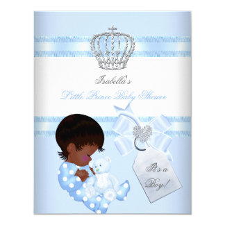 Little Prince Baby Shower Cute Boy Toy Bear A 4.25x5.5 Paper Invitation Card