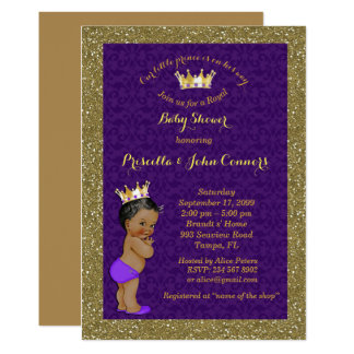 Little Prince Baby Shower Invitation, gold, purple Card