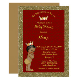Little Prince Baby Shower Invitation Gold Red