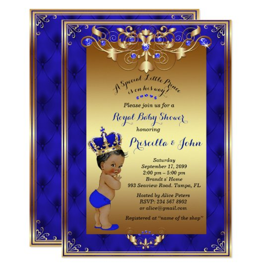 Little Prince Baby Shower Invitation, Royal Blue Card