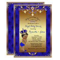 Little Prince Baby Shower Invitation, Royal Blue