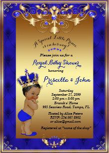 Little Prince Baby Shower Invitation Royal Blue