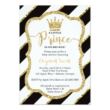 Toddler & Baby themed Little Prince Baby Shower Invite, Faux Glitter Card