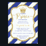"""Little Prince Baby Shower Invite, Faux Glitter Card<br><div class=""""desc"""">Invite attendees to your shower with this whimsical little prince themed baby shower invitation!   The glitter and foil are embedded images and the design will print flat and without the texture of real glitter or foil.</div>"""