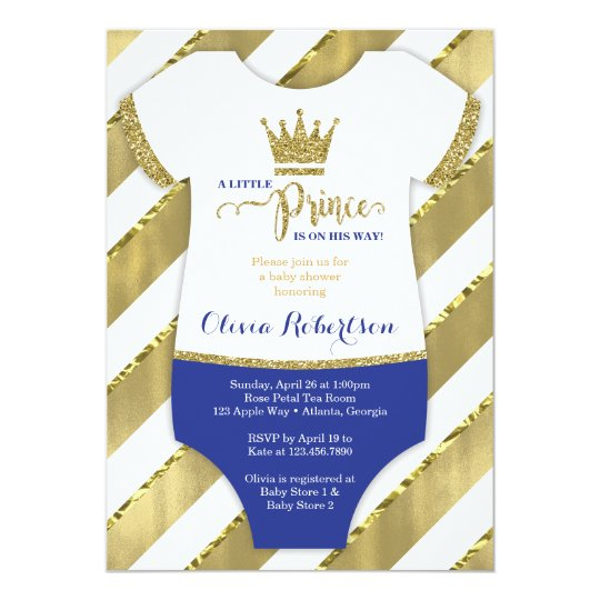 Little prince baby shower invite faux glitter card for A new little prince baby shower decoration kit