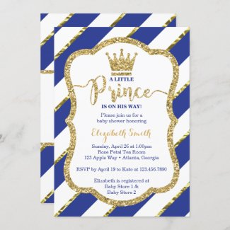 Little Prince Royal Blue Baby Shower Invite with Glitter