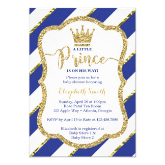 Little Prince Baby Shower Invite, Faux Glitter Invitation