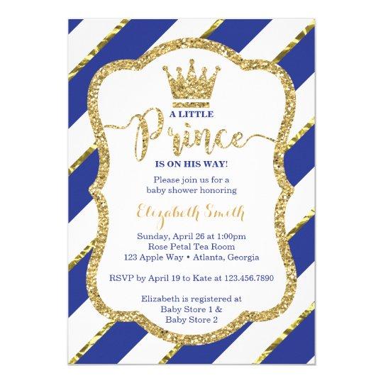 Little Prince Baby Shower Invite Faux Glitter Invitation Zazzle Com