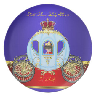 Little Prince Baby Shower Red Blue Gold Boy 2 Dinner Plate