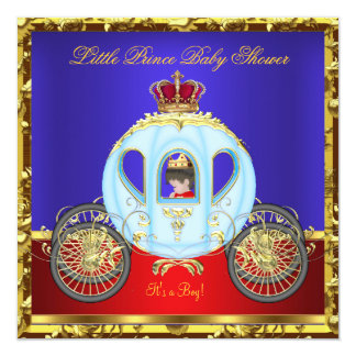 """Little Prince Baby Shower Red Blue Gold Boy 5.25"""" Square Invitation Card"""