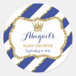 Little Prince Baby Shower Sticker, Royal Blue Gold Classic Round Sticker