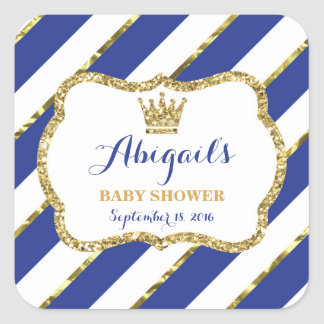 Little Prince Baby Shower Sticker, Royal Blue Gold Square Sticker