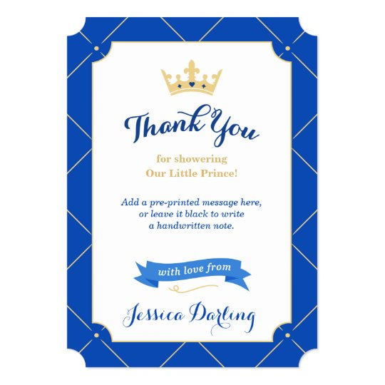 Little Prince Baby Shower Thank You Cards | Royal