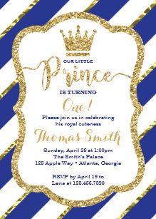 Prince birthday invitations announcements zazzle little prince birthday invitation in blue gold filmwisefo