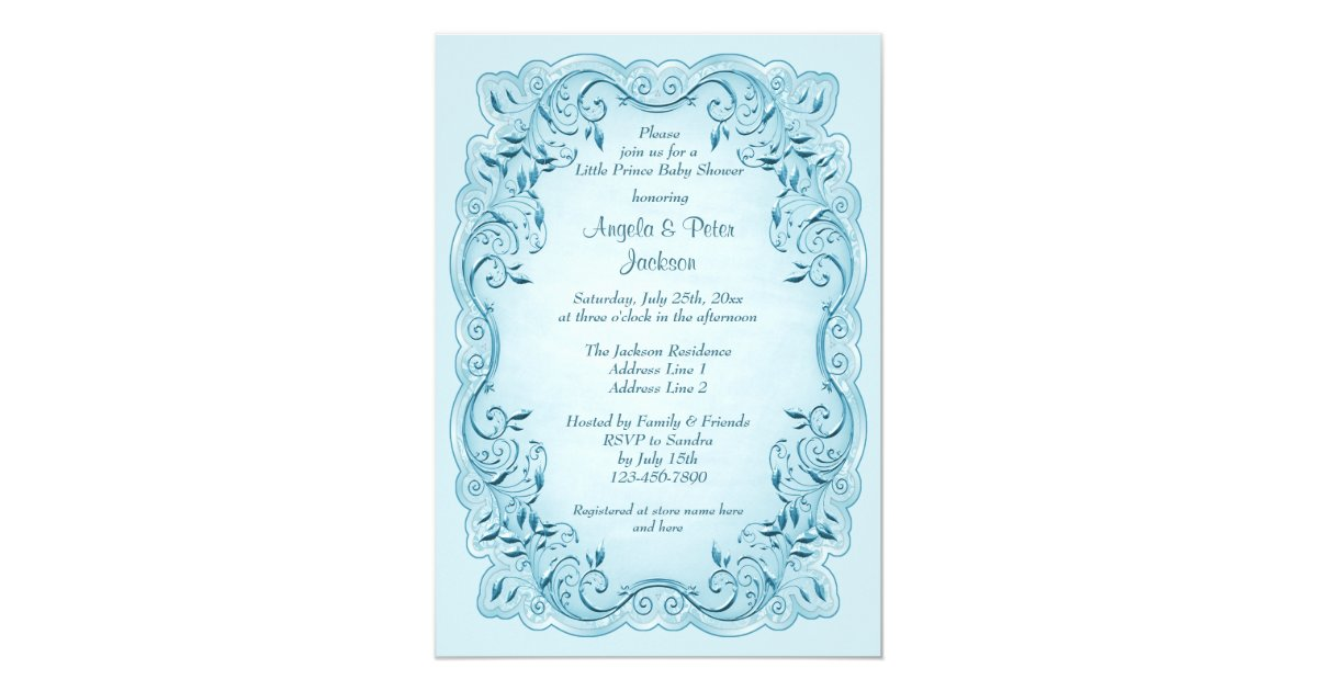 little prince blue leaves baby shower card zazzle