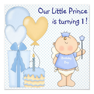 Little Prince Boys 1st Birthday Party Card