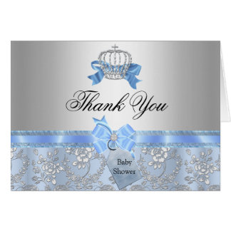 Little Prince Crown Baby Shower Thank You Card Cards