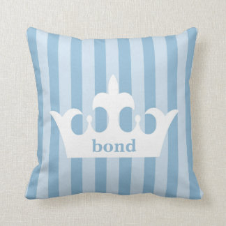 Little Prince Crown Blue Striped Nursery Throw Pillow