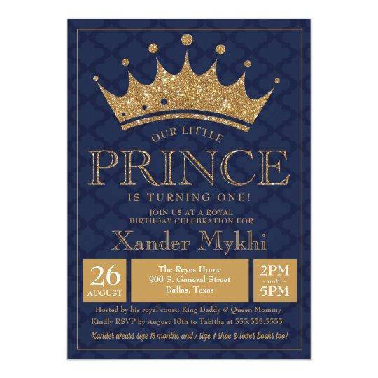Little Prince Crown Royal Boy Birthday Invitation Zazzle Com
