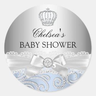 Little Prince Diamond Crown Baby Shower Sticker