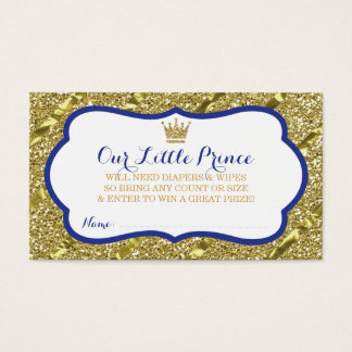 Little Prince Diaper Raffle Ticket, Faux Glitter Business Card