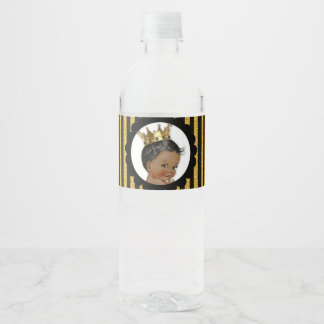 Little Prince Ethnic Crown Black & Gold Water Bottle Label