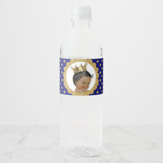 Little Prince Ethnic Crown Royal Blue Gold Water Bottle Label
